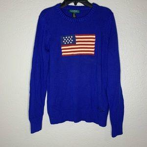 Lauren Ralph Lauren Blue American Flag Sweater M